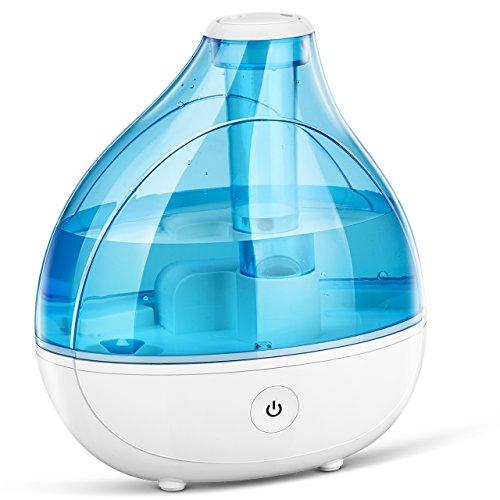 VicTsing de 1.7 Litros, un Humidificador para Bebe Ultrasónico con ambientador, incorpora una boquilla que se puede girar 360° grados, muy silencioso, con botón de sensor táctil, luz suave y contiene un deposito de gran capacidad