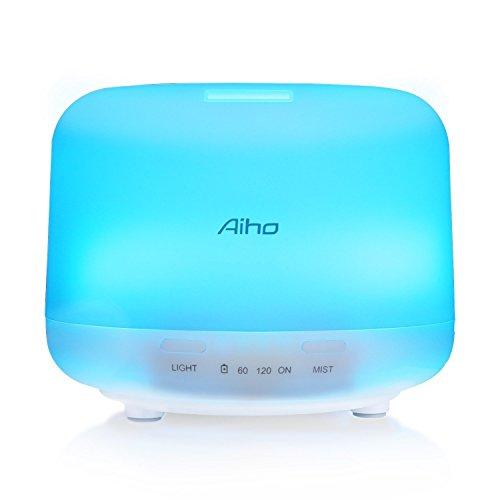Aiho Ultrasonico Humidificador 500ml Difusor de Aceites Esenciales Aromaterapia 7-Color LED 4 Ajustes de Tiempo Para Yoga Spa Hogar Oficina Dormitorio (Blanco)