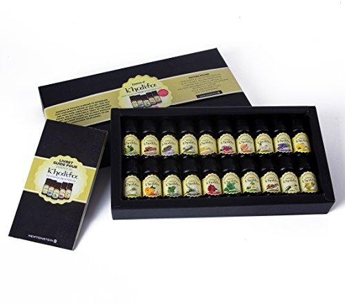Esencia de Khalifa - conjunto de 20 piezas de aceites esenciales puros de 10 ml 100% puros - Aceite de calidad terapéutica - Selección de los 20 con Guía y libro de recetas