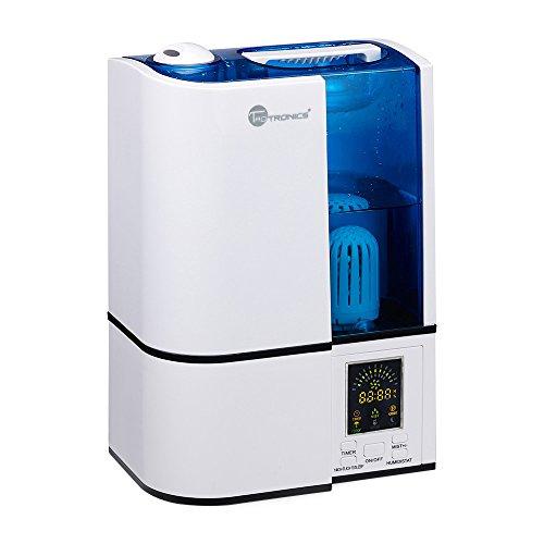 Humidificador Ultrasónico para Bebé TaoTronics Cool Mist de 4L donde se puede ajustar la humedad por su control de Vapor, con Temporizador. Contiene Luz Nocturna del tipo LED, un Purificador de Agua y es muy silencio