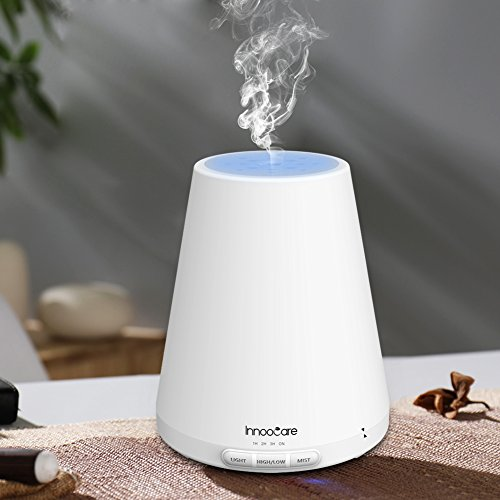 Humidificador vapor frío de Aromaterapia de Bebé InnooCare 300ml, con Difusor de Aceites Esenciales, con 7 Colores de LED diferentes, muy silencioso, con un Temporizador de 4 ajustes, ademas tiene un sistema programado de Auto Apagado