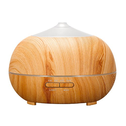 Tenswall 400 ml Humidificador Ultrasónico de madera con 7 colores de luces LED